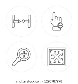 4 line Scroll, Zoom in, Clicker, Move modern icons on round shapes, Scroll, Zoom in, Clicker, Move vector illustration, trendy linear icon set.