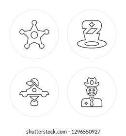 4 line Sheriff, Eagle, Hat, Cowboy modern icons on round shapes, Sheriff, Eagle, Hat, Cowboy vector illustration, trendy linear icon set.