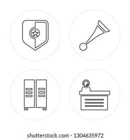 4 line Shield, Lockers, Vuvuzela, Commentator modern icons on round shapes, Shield, Lockers, Vuvuzela, Commentator vector illustration, trendy linear icon set.
