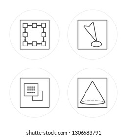 4 line Square, Ungroup, Joint, Cone modern icons on round shapes, Square, Ungroup, Joint, Cone vector illustration, trendy linear icon set.