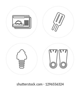 4 line Sunset, Ice cream, Ice cream, Flippers modern icons on round shapes, Sunset, Ice cream, Ice cream, Flippers vector illustration, trendy linear icon set.