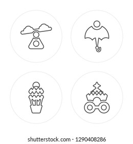 4 line Swing, Hot Air Balloon, Umbrella, Circus Wagon modern icons on round shapes, Swing, Hot Air Balloon, Umbrella, Circus Wagon vector illustration, trendy linear icon set.
