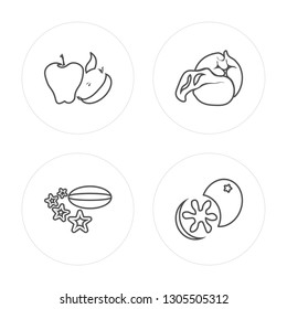 4 line Tangerine, Carambola, Cabbage, Breast milk fruit modern icons on round shapes, Tangerine, Carambola, Cabbage, Breast milk fruit vector illustration, trendy linear icon set.