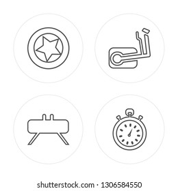 4 line Tire, Buck, Elliptical, Stopwatch modern icons on round shapes, Tire, Buck, Elliptical, Stopwatch vector illustration, trendy linear icon set.