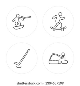 4 line Wakeboarding, Hockey, Skateboarding, Fishing modern icons on round shapes, Wakeboarding, Hockey, Skateboarding, Fishing vector illustration, trendy linear icon set.