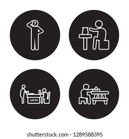 4 linear vector icon set : Questioning, Playing Lotto, Pottery, Picnic isolated on black background, Questioning, Playing Lotto, Pottery, Picnic outline icons