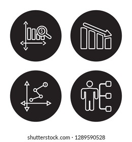 4 linear vector icon set : Dollar analysis bars, Depleting chart, Diagram, Department Head isolated on black background, Dollar analysis bars, Depleting chart, Diagram, Department Head outline icons