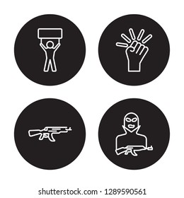 4 linear vector icon set : Revolt, Kalashnikov, Revolution, Terrorist isolated on black background, Revolt, Kalashnikov, Revolution, Terrorist outline icons