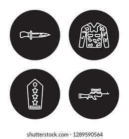 4 linear vector icon set : combat knife, Shoulder strap, Camouflage military clothing isolated on black background, combat knife, Shoulder strap, Camouflage military clothing outline icons