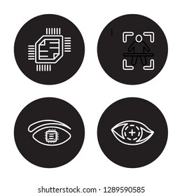 4 linear vector icon set : Chip, Bionic eye, Body scan, Bionic contact lens isolated on black background, Chip, Bionic eye, Body scan, Bionic contact lens outline icons