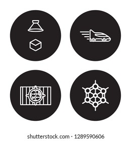 4 linear vector icon set : Hologram, High capacity color barcode, High speed tube, Graphene isolated on black background, Hologram, High capacity color barcode, High speed tube, Graphene outline icons