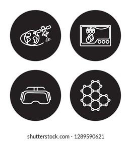 4 linear vector icon set : Outer space, Oculus rift, Organ printing, Nanotechnology isolated on black background, Outer space, Oculus rift, Organ printing, Nanotechnology outline icons