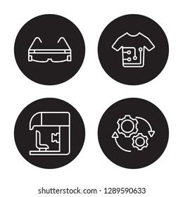 4 linear vector icon set : Smart glasses, Sensorama, Smart clothing, Rotation isolated on black background, Smart glasses, Sensorama, Smart clothing, Rotation outline icons