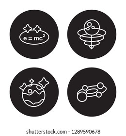 4 linear vector icon set : Relativity, Pluto, Quasar, Planets isolated on black background, Relativity, Pluto, Quasar, Planets outline icons
