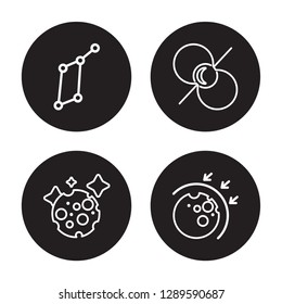 4 linear vector icon set : Lyra Constellation, Moon, Pulsar, aerosphere isolated on black background, Lyra Constellation, Moon, Pulsar, aerosphere outline icons