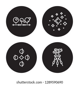 4 linear vector icon set : Magnitude, Solstice, Star Cluster, Reflector isolated on black background, Magnitude, Solstice, Star Cluster, Reflector outline icons