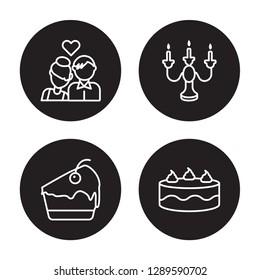 4 linear vector icon set : Couple, Cake slice, Candelabra, Cake isolated on black background, Couple, Cake slice, Candelabra, Cake outline icons