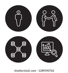4 linear vector icon set : Debt, Database Interconnected, Deal, Database Analysing isolated on black background, Debt, Database Interconnected, Deal, Database Analysing outline icons