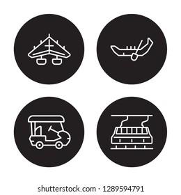 4 linear vector icon set : hatchback, gondola, hang glider, Golf cart isolated on black background, hatchback, gondola, hang glider, Golf cart outline icons