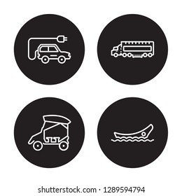 4 linear vector icon set : Excavators, eighteen-wheeler, Electric car isolated on black background, Excavators, eighteen-wheeler, Electric car outline icons