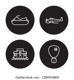 4 linear vector icon set : jetliner, hydroplane, icebreaker ship, houseboat isolated on black background, jetliner, hydroplane, icebreaker ship, houseboat outline icons
