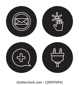 4 linear vector icon set : Post, Plus, Pointer, Plugin isolated on black background, Post, Plus, Pointer, Plugin outline icons