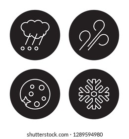 4 linear vector icon set : Haze, Gust, Hailstorm, Full moon isolated on black background, Haze, Gust, Hailstorm, Full moon outline icons
