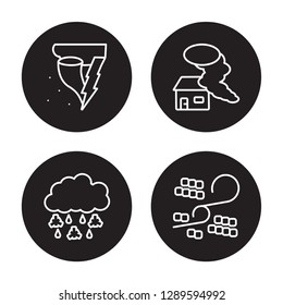 4 linear vector icon set : Spring, Smog, Snow storms, Sleet isolated on black background, Spring, Smog, Snow storms, Sleet outline icons
