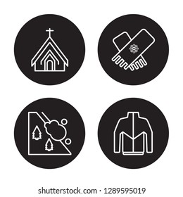 4 linear vector icon set : Chapel, Avalanche, Stall, Winter clothes isolated on black background, Chapel, Avalanche, Stall, Winter clothes outline icons