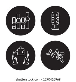 4 linear vector icon set : Statistics, Solution, Speech, Sine Waves Analysis isolated on black background, Statistics, Solution, Speech, Sine Waves Analysis outline icons