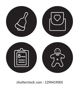 4 linear vector icon set : Jingle bell, Guest list, Invitation, Gingerbread man isolated on black background, Jingle bell, Guest list, Invitation, Gingerbread man outline icons