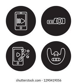 4 linear vector icon set : slow motion, slapstick, slide projector, Silence isolated on black background, slow motion, slapstick, slide projector, Silence outline icons