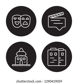 4 linear vector icon set : Theatre, studio, subtitle, Storyboard isolated on black background, Theatre, studio, subtitle, Storyboard outline icons