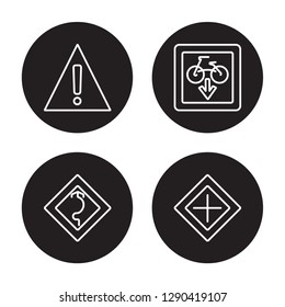 4 linear vector icon set : Danger, Curves, Cycle lane, Crossroad isolated on black background, Danger, Curves, Cycle lane, Crossroad outline icons