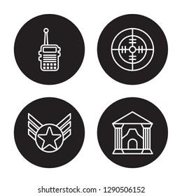 4 linear vector icon set : Militar Radio, Militar In, Militar Radar isolated on black background,