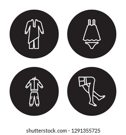 4 linear vector icon set : Kurta, tracksuit, Nightwear, stockings isolated on black background, Kurta, tracksuit, Nightwear, stockings outline icons