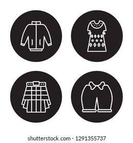 4 linear vector icon set : windbreaker, Kilt, Kaftan, Knickers isolated on black background, windbreaker, Kilt, Kaftan, Knickers outline icons