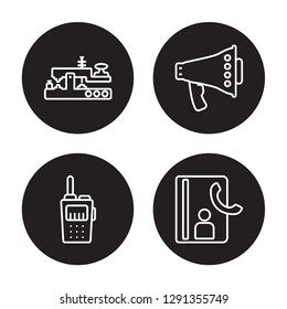4 linear vector icon set : Morse code, Transmitter, Bullhorn, Contacts isolated on black background, Morse code, Transmitter, Bullhorn, Contacts outline icons