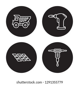 4 linear vector icon set : Dumper, Tiles, blowtorch, Hydraulic breaker isolated on black background, Dumper, Tiles, blowtorch, Hydraulic breaker outline icons