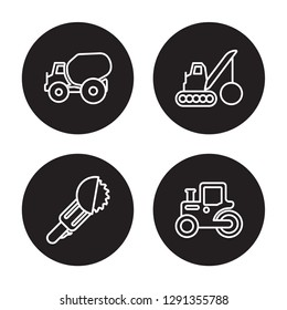 4 linear vector icon set : Concrete, Circular saw, Demolition, Steamroller isolated on black background, Concrete, Circular saw, Demolition, Steamroller outline icons