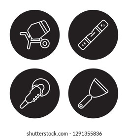 4 linear vector icon set : cement mixers, Polishers, Plumb rule tool, Putty knife isolated on black background, cement mixers, Polishers, Plumb rule tool, Putty knife outline icons