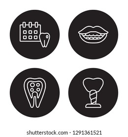 4 linear vector icon set : Medical appointment, Inner Tooth, Lips, Implant Fixture isolated on black background, Medical appointment, Inner Tooth, Lips, Implant Fixture outline icons