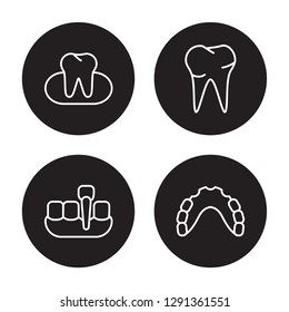 4 linear vector icon set : Occlusal, Overdenture, Oral, Partial Denture isolated on black background, Occlusal, Overdenture, Oral, Partial Denture outline icons