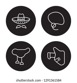 4 linear vector icon set : Mexican Hat, Horse saddle, Lasso, Holster isolated on black background, Mexican Hat, Horse saddle, Lasso, Holster outline icons