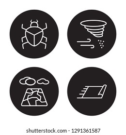4 linear vector icon set : Scarab, Salty desert, Sandstorm, Rug isolated on black background, Scarab, Salty desert, Sandstorm, Rug outline icons