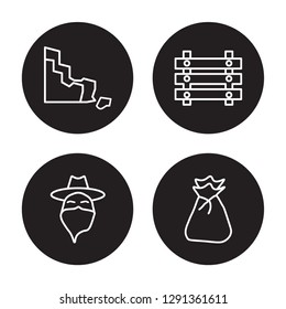 4 linear vector icon set : Rock, Outlaw, Paddock, Old Money Bag isolated on black background, Rock, Outlaw, Paddock, Old Money Bag outline icons
