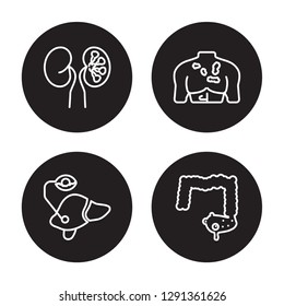 4 linear vector icon set : Iron-deficiency anemia, Interstitial cystitis, Iritis, Influenza isolated on black background, Iron-deficiency anemia, Interstitial cystitis, Iritis, Influenza outline icons