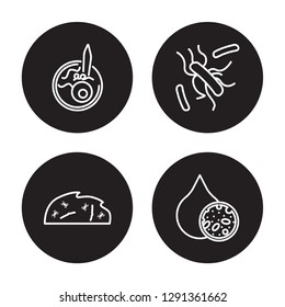 4 linear vector icon set : Leprosy, Legionellosis, Leishmaniasis, Lead poisoning isolated on black background, Leprosy, Legionellosis, Leishmaniasis, Lead poisoning outline icons