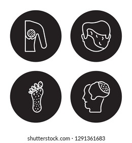 4 linear vector icon set : Breast cancer, Beriberi, Black Death, Bacterial meningitis isolated on black background, Breast cancer, Beriberi, Black Death, Bacterial meningitis outline icons
