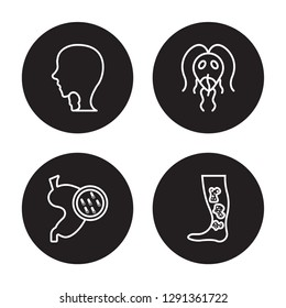 4 linear vector icon set : Goitre, Gastroenteritis, Giardiasis, Gangrene isolated on black background, Goitre, Gastroenteritis, Giardiasis, Gangrene outline icons
